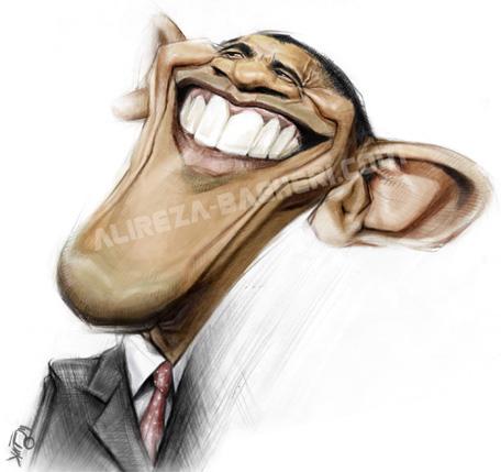 کاریکاتور اوباما به قلم علیرضا باقری